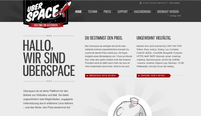 Uberspace: Der erste Eindruck ist locker und geekig. (Screenshot: Uberspace)