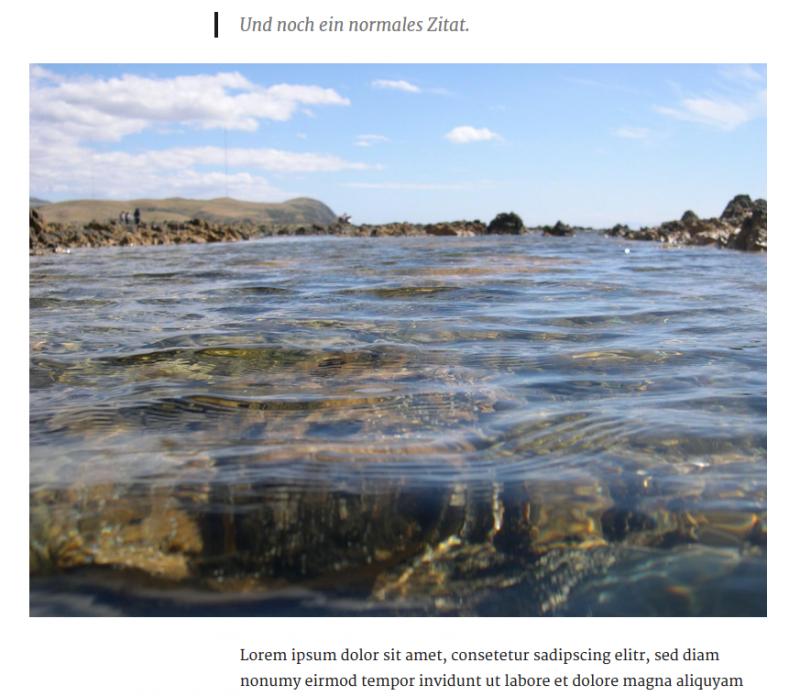 Auch Bilder können in Twenty Sixteen hervorgehoben werden. (Screenshot: eigene WordPress-Installation)