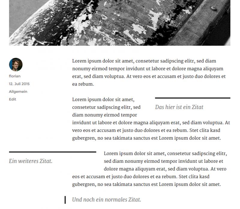 Die verschiedenen Ausrichtungen der Blockzitate. (Screenshot: eigene WordPress-Installation)