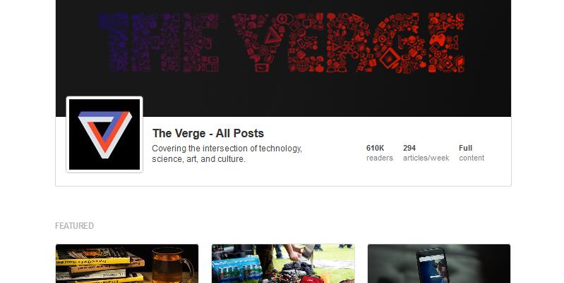 Cover-Bild und Icon bei der Feedly-Seite von The Verge. (Screenshot: Feedly)