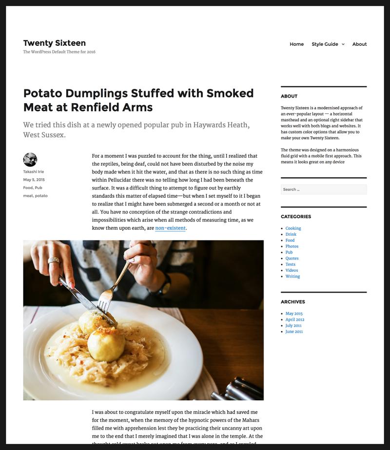 "So sieht das neue Standard-Theme ""Twenty Sixteen"" aus. (Screenshot: WordPress.org)"