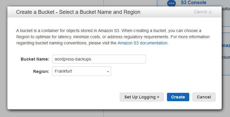 Ein Bucket erstellen. (Screenshot: AWS)