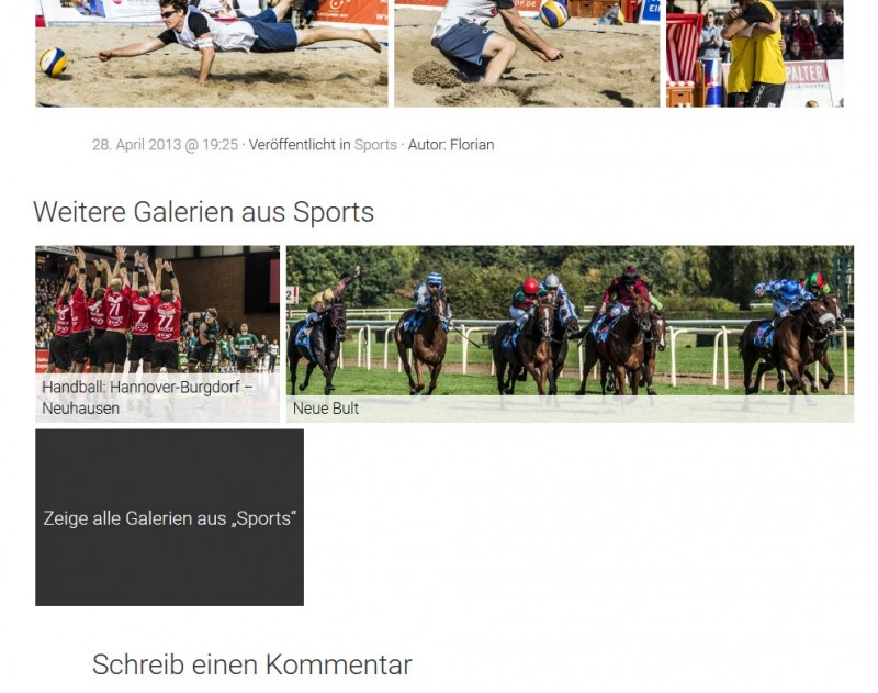Die Links zu Galerien derselben Kategorie. (Screenshot: eigene WordPress-Installatio; Fotos: Dennis Brinkmann)