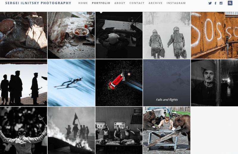 Abbildung 2: Übersicht des Portfolios von Sergei Ilnitsky. Quelle: Screenshot von ilnitsky-photography.com am 1. November 2015