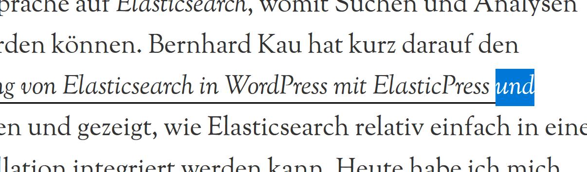 Ein Screenshot von Text mit einem unterstrichenen Link. Die Position der Unterstreichung ist angepasst und erfolgt nun durch background-image.