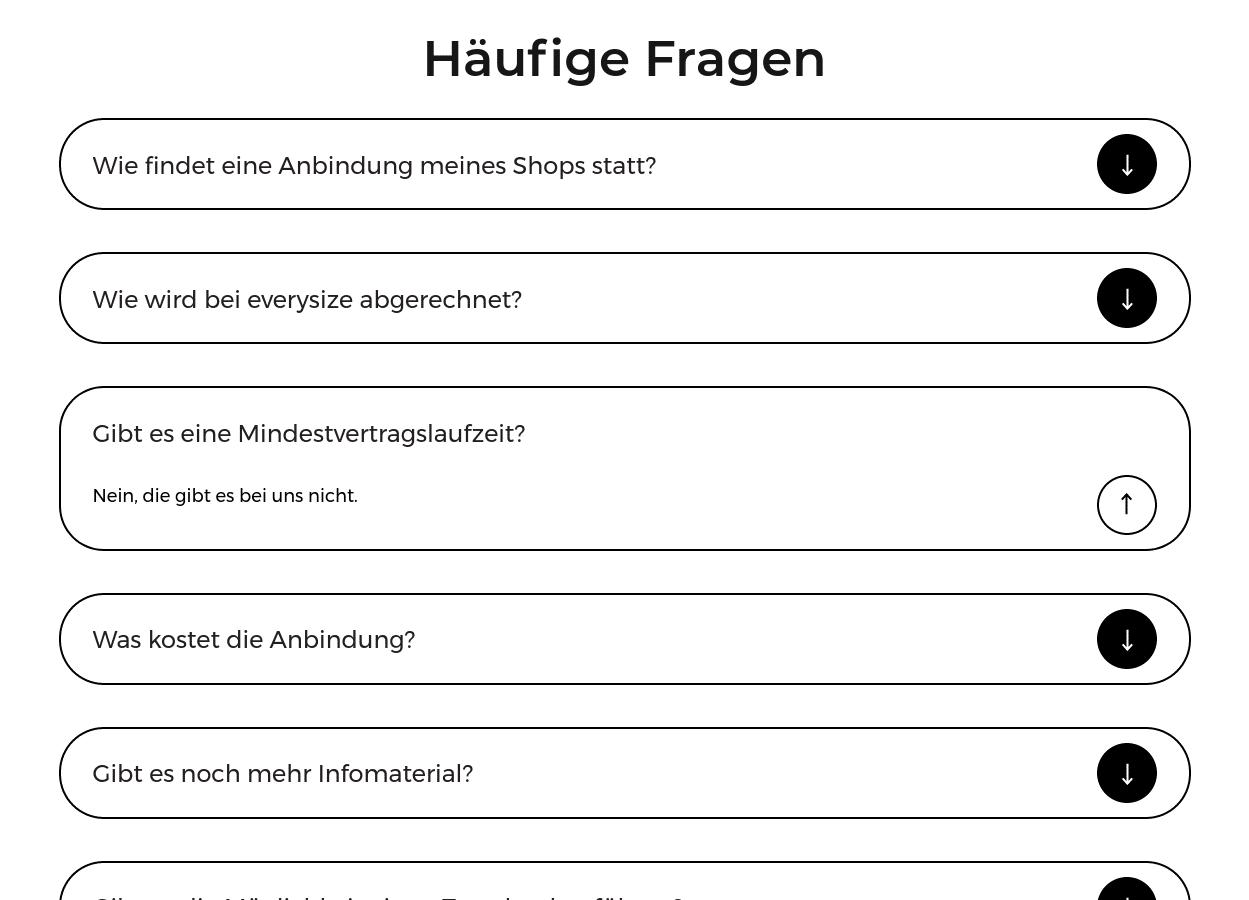 Screenshot eines Akkordeon-Elements, das FAQs darstellt, mit einem ausgeklappten Eintrag.