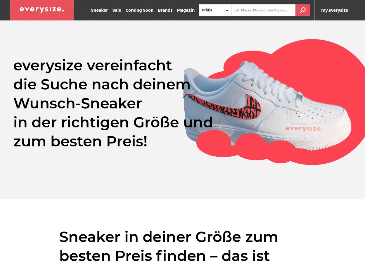 Screenshot des Hero-Bereichs der Über-Uns-Seite mit Hero-Text auf der linken Seite, der leicht ein Bild eines Sneakers auf der rechten Seite überlagert.